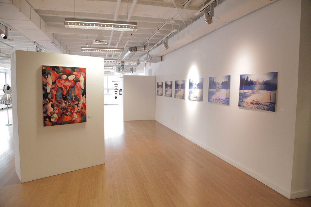 Featured Carly Sheehan painting and Geena Matuson prints from 'Liar Liar' multimedia series. / Geena Matuson's (@geenamatuson) TransFIREmation Gallery Show & Installation in the MassArt Student Life Gallery in Boston, MA, US.