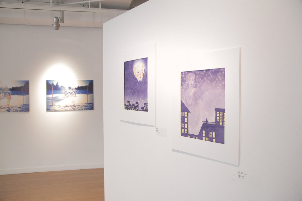 Featured Shannon Knight illustrations 'New Moon I' and 'New Moon II.' / Geena Matuson's (@geenamatuson) TransFIREmation Gallery Show & Installation in the MassArt Student Life Gallery in Boston, MA, US.