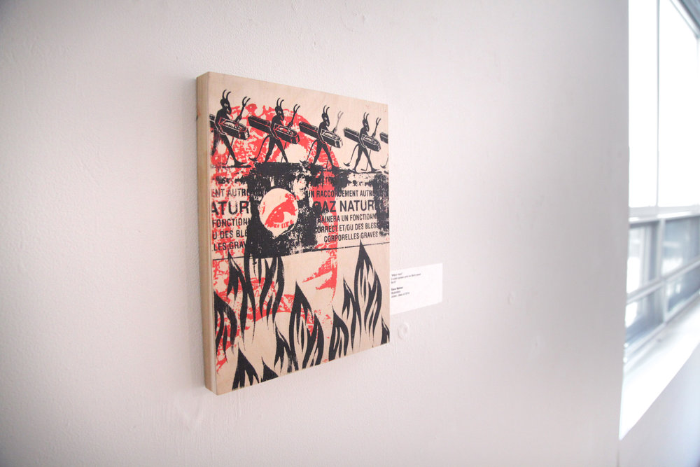 Featured Dave Mahan wood print. / Geena Matuson's (@geenamatuson) TransFIREmation Gallery Show & Installation in the MassArt Student Life Gallery in Boston, MA, US.
