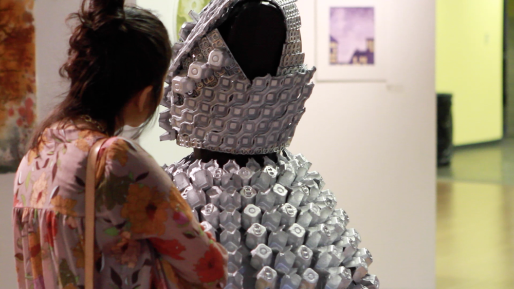 Featured Emelie Bergh work in 2D fibers and fashion industrial design. / Geena Matuson's (@geenamatuson) TransFIREmation Gallery Show & Installation in the MassArt Student Life Gallery, 2013.