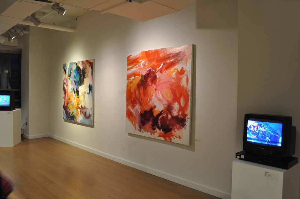 Featured Carly Sheehan paintings. / Geena Matuson's (@geenamatuson) TransFIREmation Gallery Show & Installation in the MassArt Student Life Gallery, 2013.