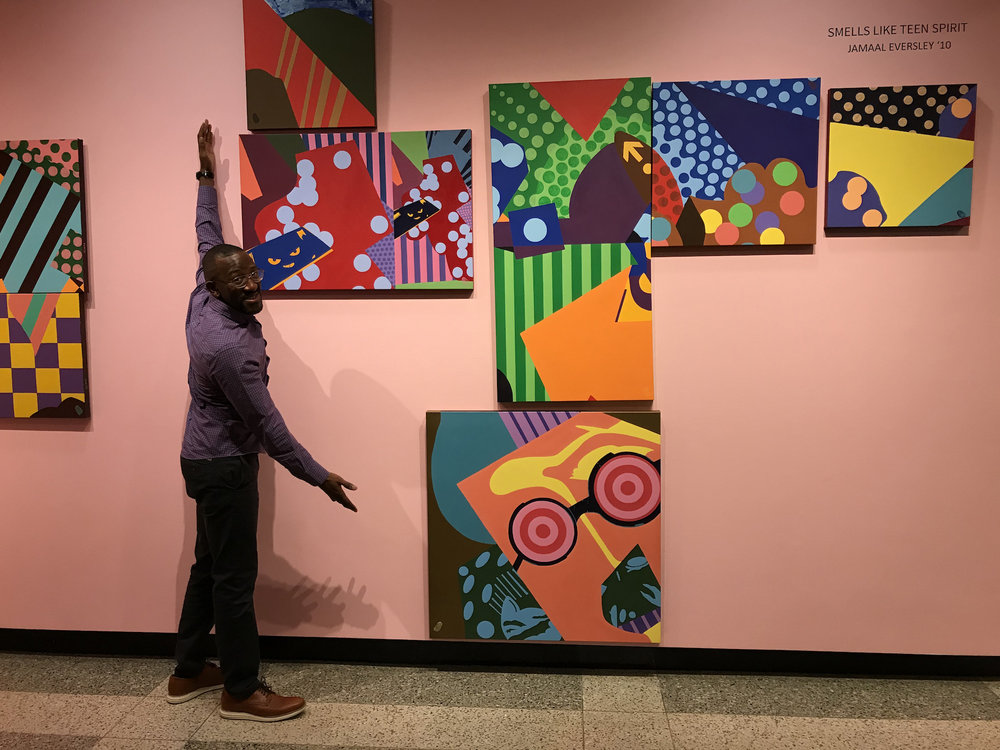 Jamaal Eversley (@sirjayevs) presents his artwork in his show SMELLS LIKE TEEN SPIRIT at Babson College, October 2017.