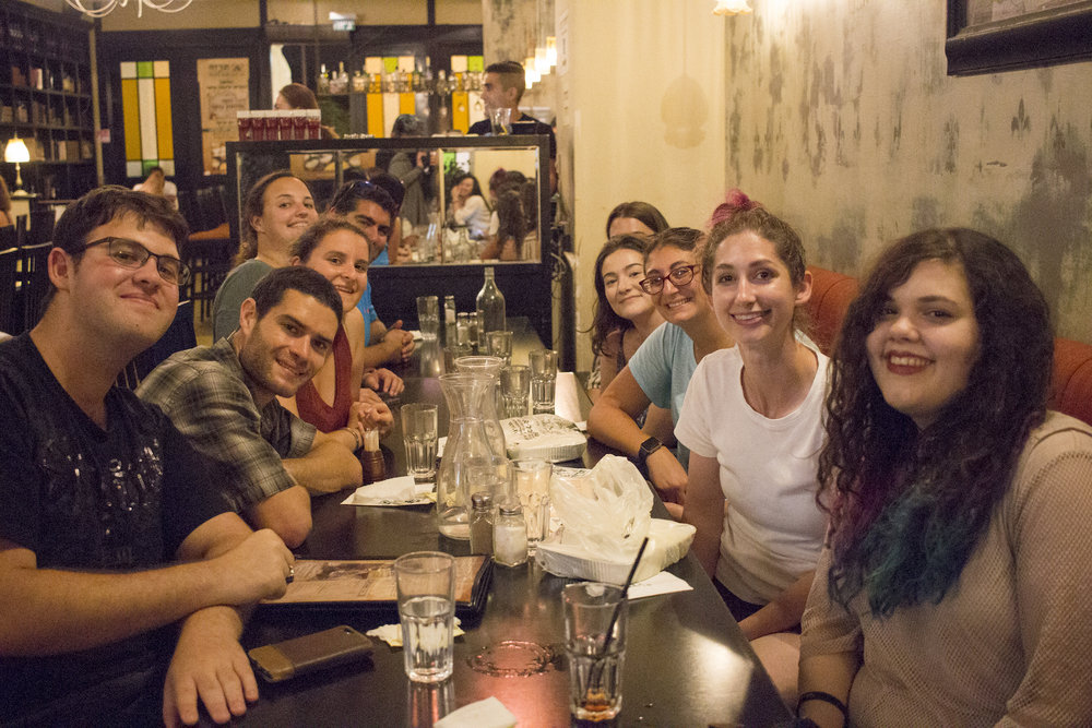 A group of friends bid farewell to Geena Matuson (@geenamatuson) at a dinner in Rishon LeZion, Israel, September 2017.
