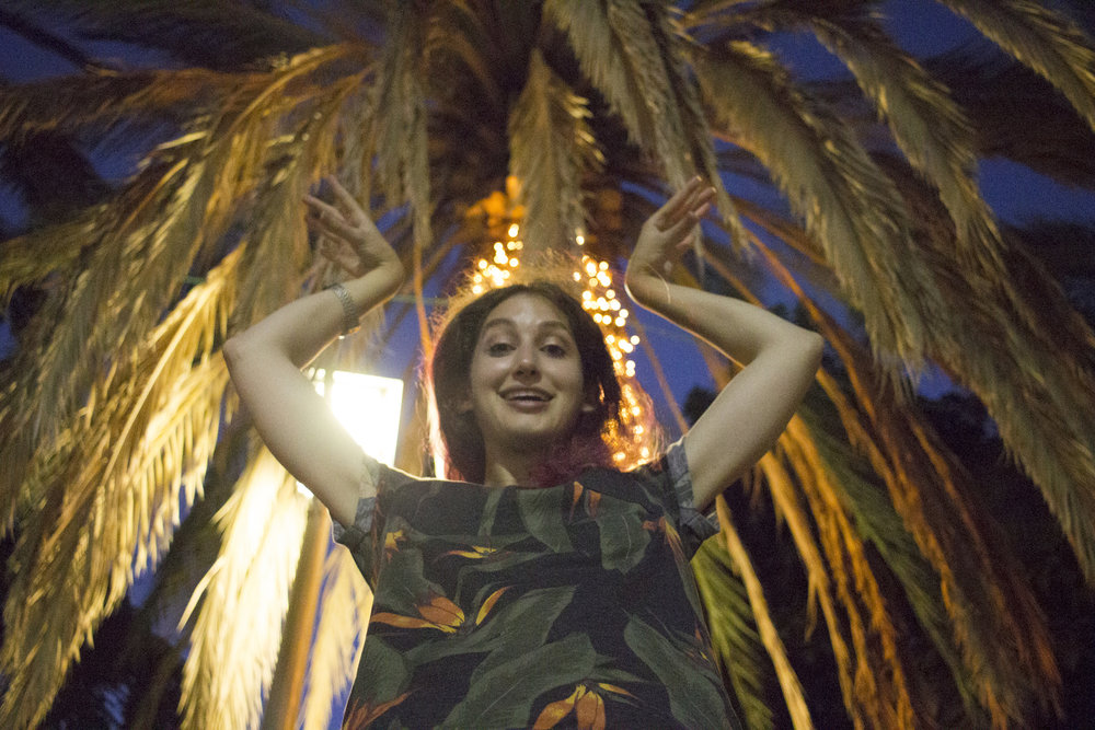 "Geena Matuson (@geenamatuson) ""being the palm tree"" in Rishon LeZion, Israel, September 2017."