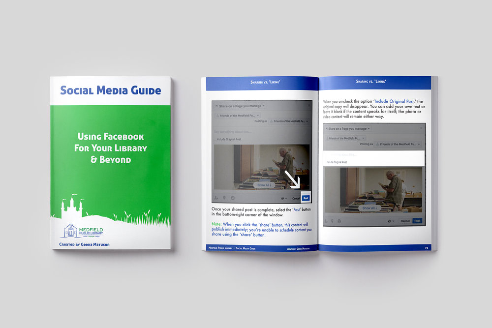 This 100-page social media guide by Geena Matuson (@geenamatuson) will talk you and your organization through the setup of a public Facebook page, teach you the basics of Facebook usability, and show you best practices. See more @ https://thegirlmirage.com.