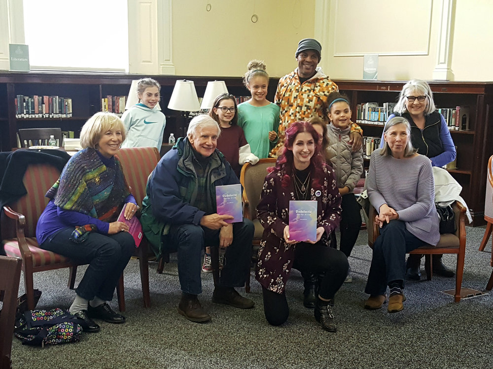 "Geena Matuson ""The Girl Mirage"" with loving audience at her book reading and signing for first book ""Dadalectic: Waking Dream"" held at Medfield Public Library, March 2018. See more @ http://dadalectic.com."