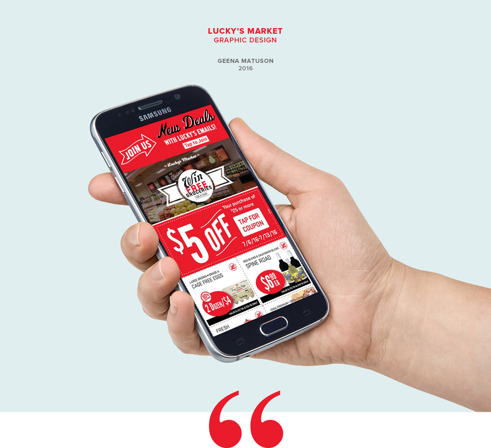 Mockup of Geena Matuson's (@geenamatuson) digital marketing assets for Lucky's Market, supermarket mobile hub.