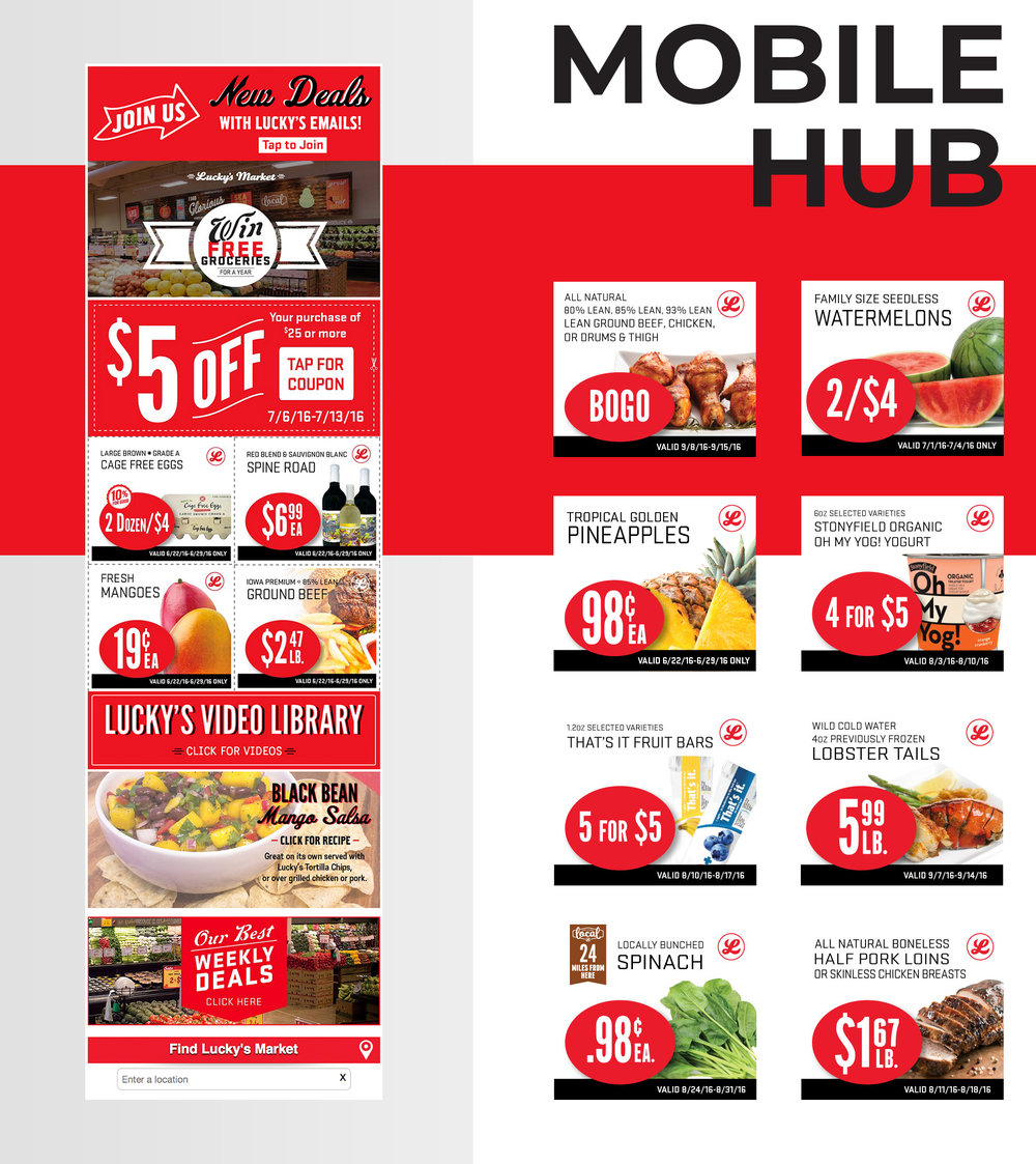 Mockup of Geena Matuson's (@geenamatuson) digital marketing assets for Lucky's Market, supermarket mobile hub.