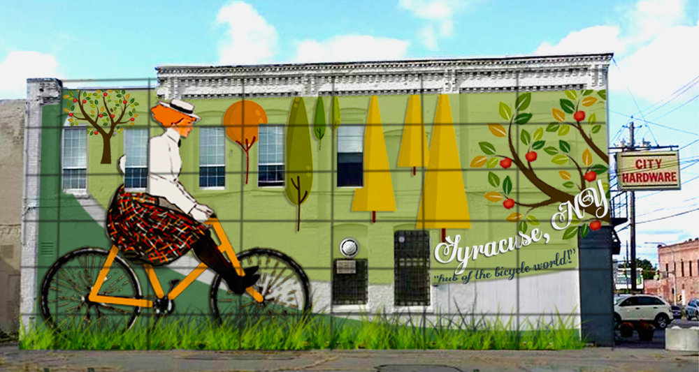 Mockup of first 315Alive mural in Syracuse, NY as part of pilot program for public art trust spearheaded by Spark Contemporary Art Space co-owner Jacob Alan Roberts, 2018.