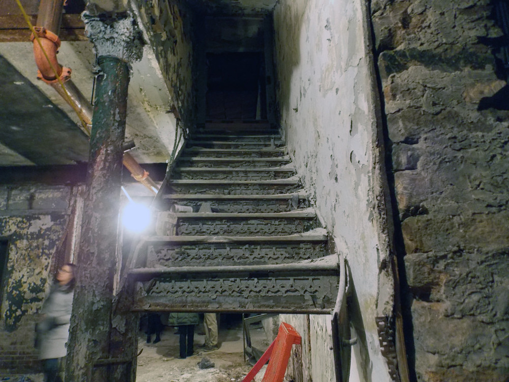 It's unclear why some steps have been removed, but there have been many cases of scrappers gaining access and leaving with anything they could find.