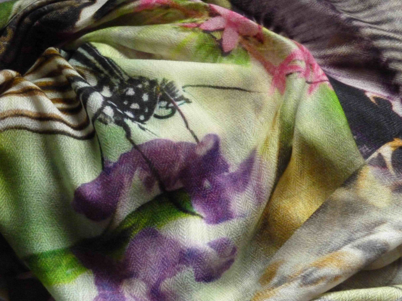 Butterfly print in hand spun pashmina