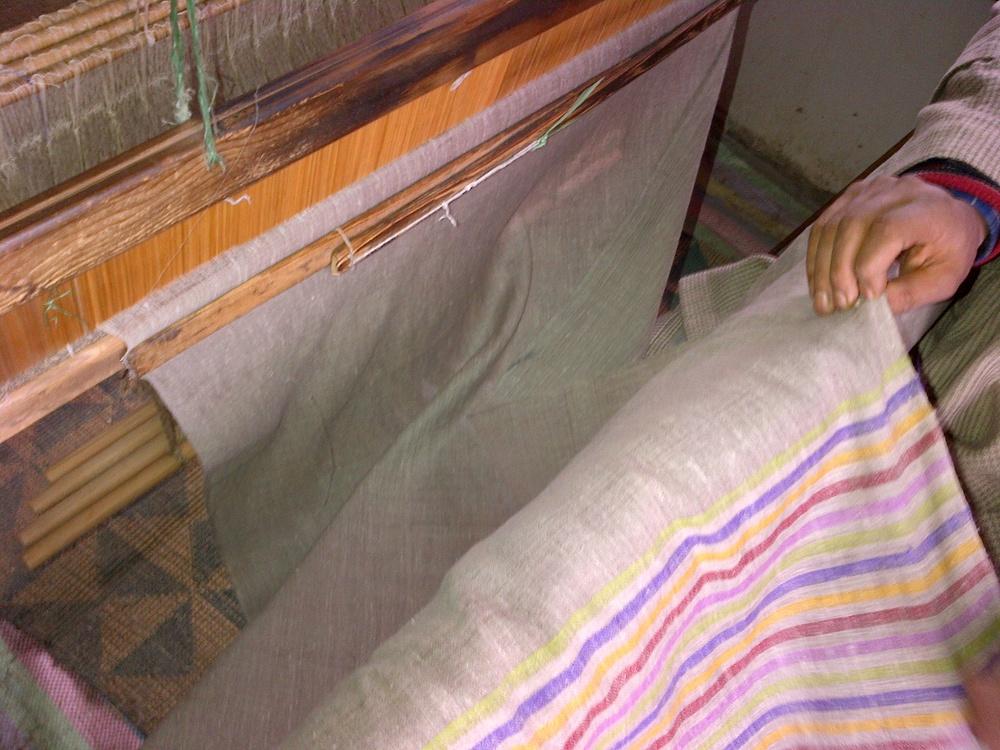 A hand spun striped Pashmina