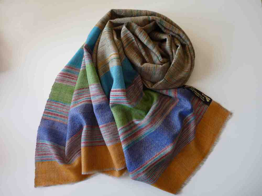 Autumn Hand Spun Pashmina in gradient colours