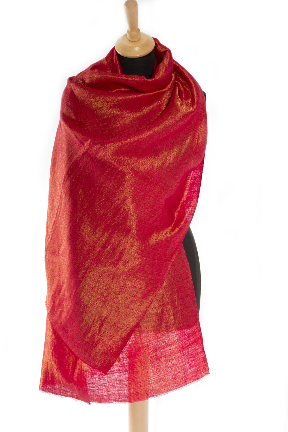 Reversible Red Gold Hand Spun Pashmina