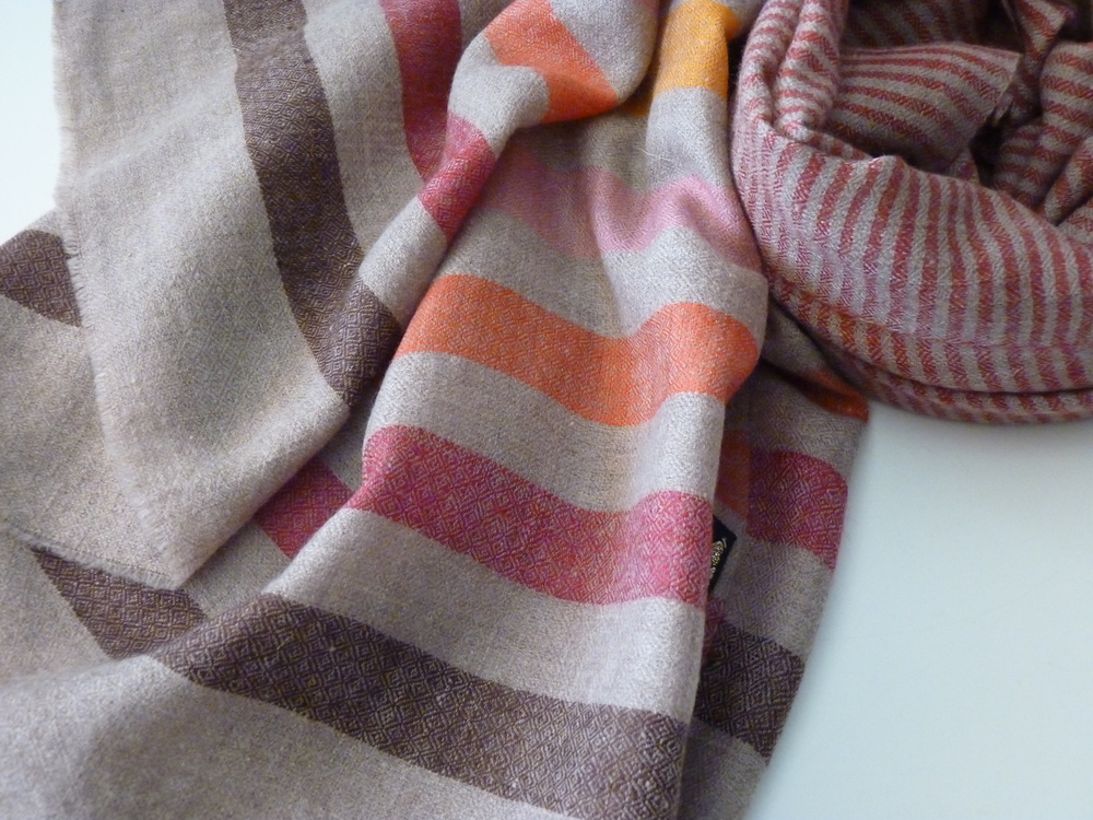Autumn  Stripes Hand Spun Pashmina