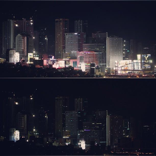 Metro Manila actually gave a damn. Earth Hour 2013. Via @rappler