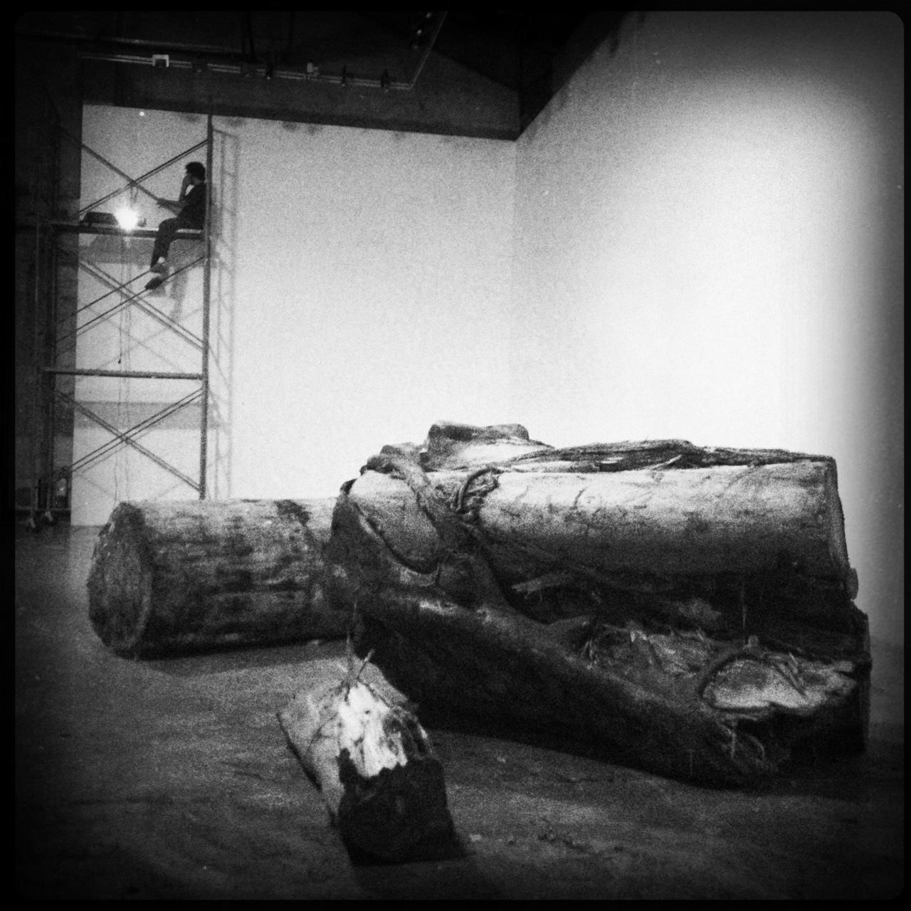 Logs that flattened communities and desteoyed lives during typhoon #sendong. Installation by @ang_kiri. Opening June 7 at Finale Art File