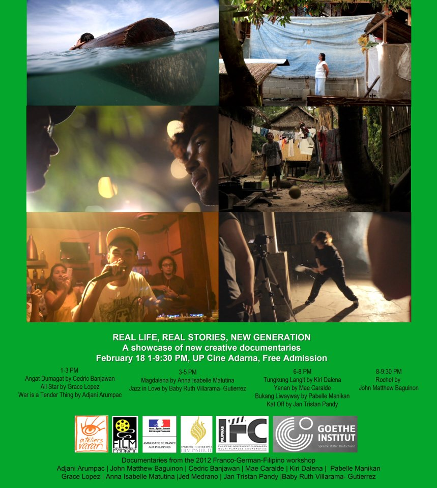 11 creative documentaries from new and experienced filmmakers will be screening in UPFI Cine Adarna on Feb 18 1-9:30PM. Watch and support our expanding documentary scene! Free Admission.