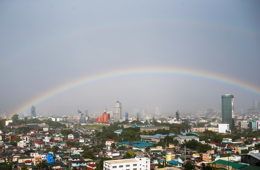 Rainbow over Makati. July 1, 2013.
