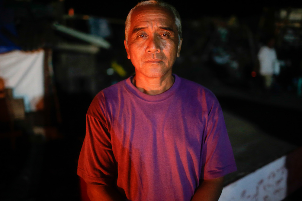 "Zozimo Abando of San Roque, Tanauan Leyte. Made homeless by Yolanda. Calling for Dolores and Charito Conti of Manhattan, New York. Simply wants to say to them ""Do not worry, all of your siblings, nephews and nieces are alive and well."""