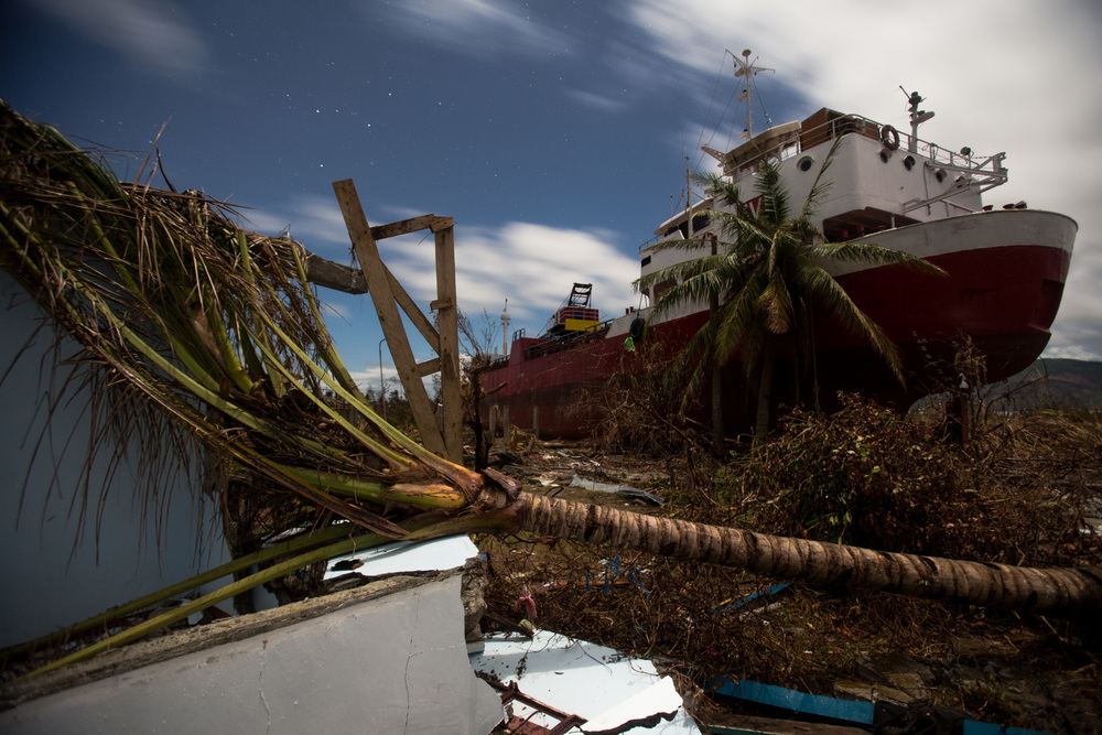 A cargo ship brought ashore by Typhoon Haiyan in Tacloban City