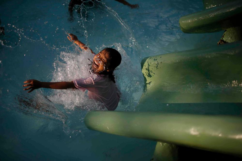 A photograph of Analou Lapuerta, the inspiration of the film during her first swim nine months after being swept roughly 100kms in the raging floods caused by typhoon Sendong on December 17, 2011.