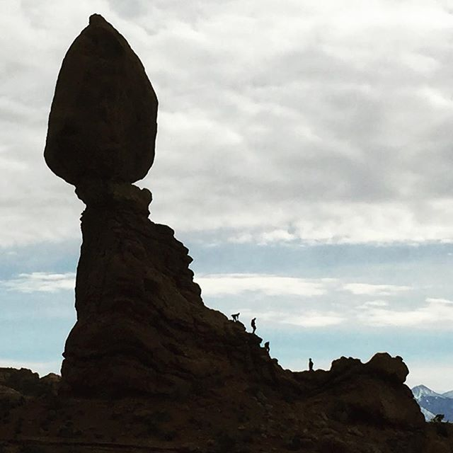 Visitors at Balanced Rock, Arches National Park in Moab, UT. #NationalParks #Arches #Travel #Moab #Travel #Nature #iPhone