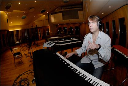 Guy Fletcher recording with Mark Knopfler at British Grove Studio