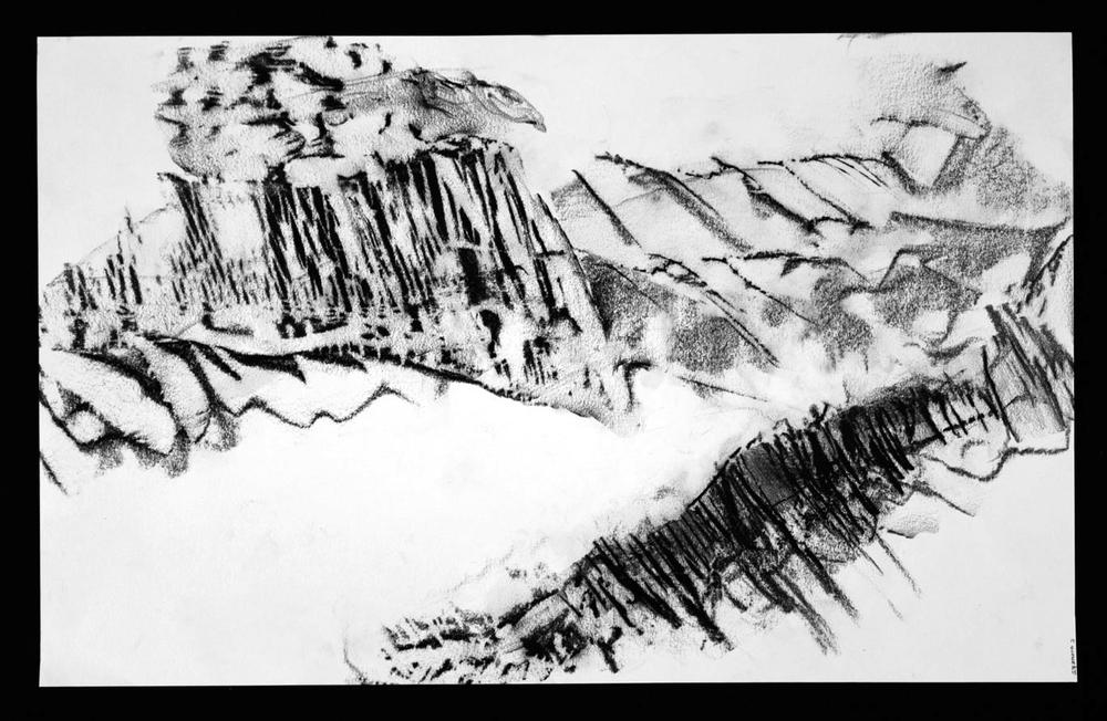 """SCAPE Print 19  12"""" x 24""""  Graphite on Strathmore paper"""