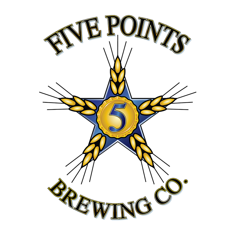 Logo for Five Points Brewing Company in San Diego, CA, emphasizing the quality rating their products received.