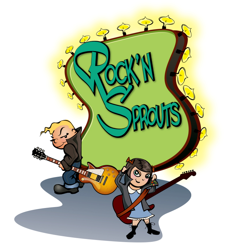 Rock'n Sprouts is an upscale children's clothing store specializing in rock and roll and rockabilly clothing. After the success of the initial logo, the owners decided to add a girl (and bass player).