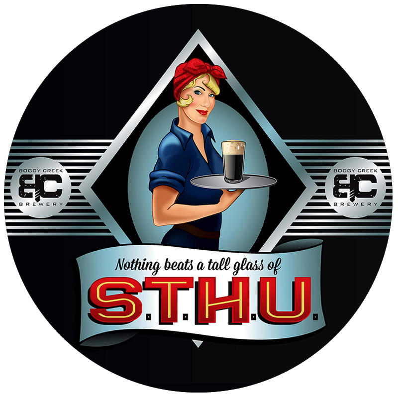 Bottle label & logo for Boggy Creek Brewery's STHU, a black rye IPA. The company's co-owner was the model. They wanted to strongly evoke Rosie the Riveter with a sly sense of humor.