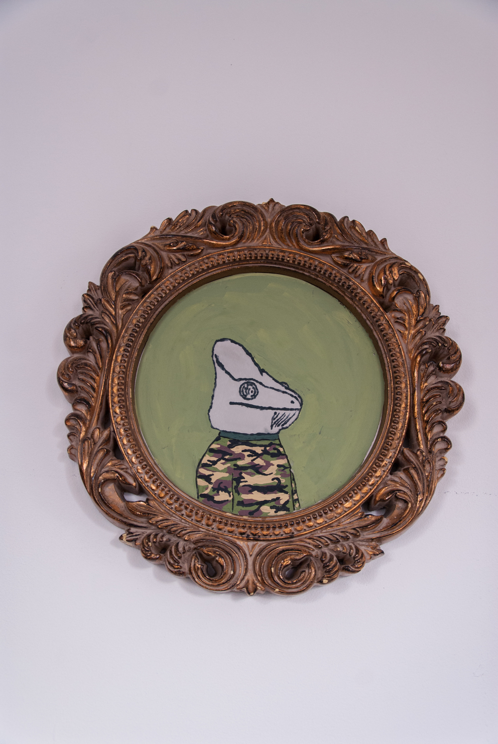 Chameleon Wearing Camo, 2012. Tempera on mirror