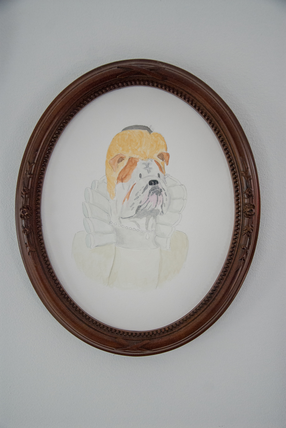 English Victorian Noblewoman English Bulldog, 2012. Watercolor on paper