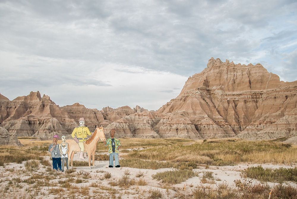 Teddy Roosevelt and the Ruff Ryders in the Badlands, 2014. Mixed media