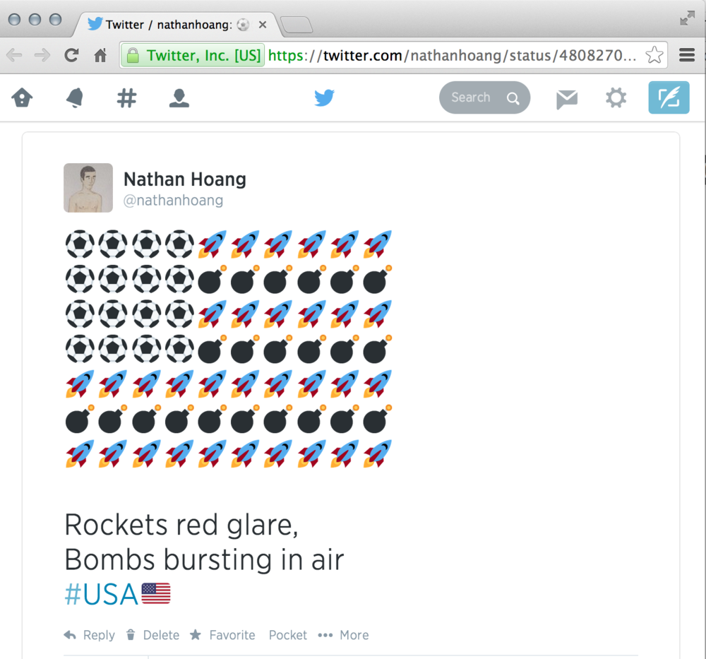 Pre-Anthem tweet for the USA vs Portugal match on June 22, 2014.