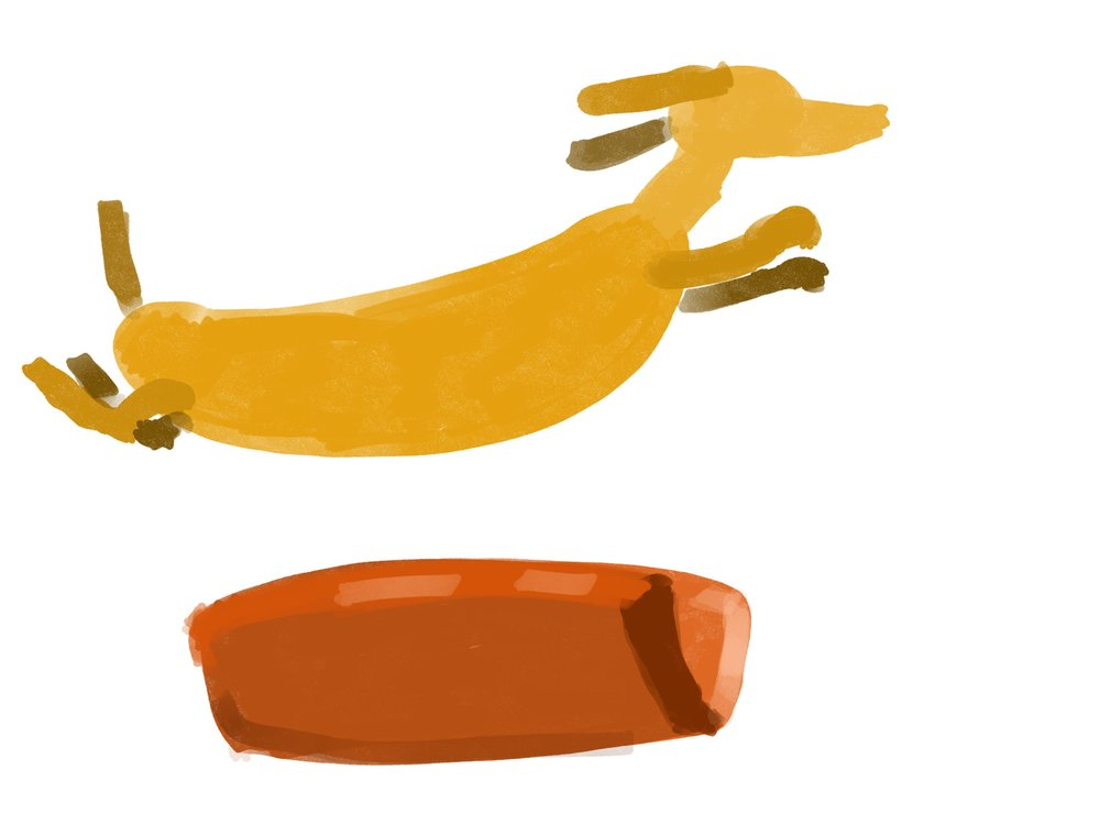 The Quick Yellow Dachshund Jumps Over The Lazy Bun (2017). iPad