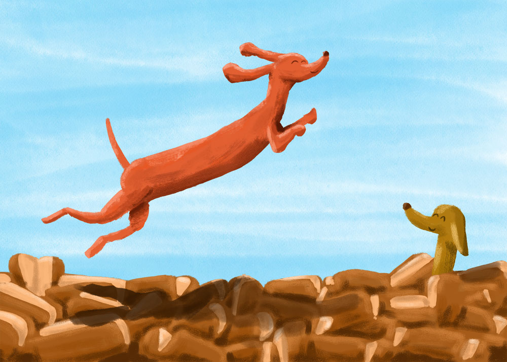 Dachshund Buns, 2017. Digital Read about the process here