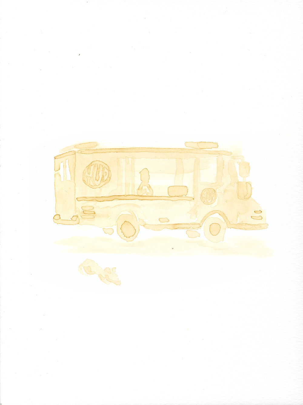 Mud Truck  (2018). Coffee on paper Read about the project and see the process in  /latest