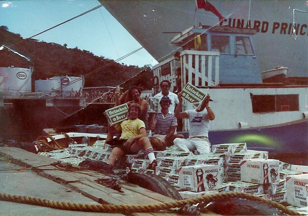 """February 1980. Royal Viking Star St Thomas """"lifeboat of beer"""""""