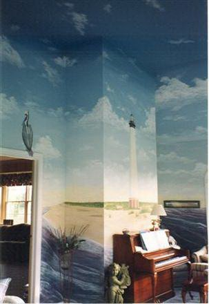 lighthouse landscape mural