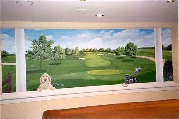 window to golf course mural