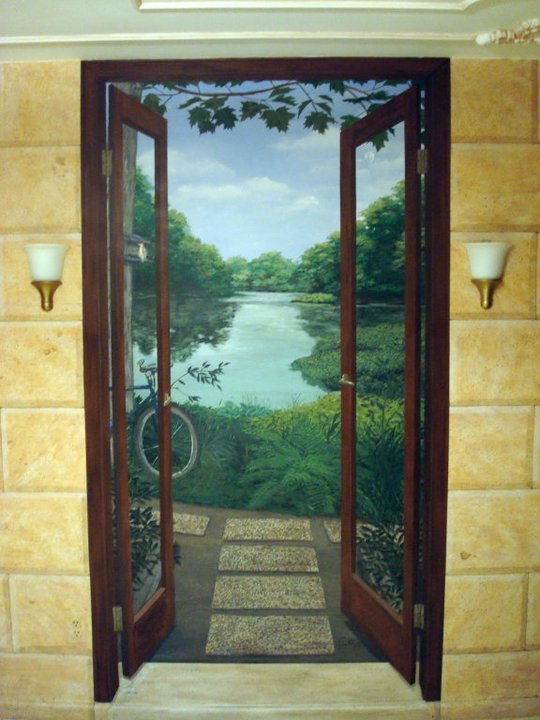 doors to the garden mural