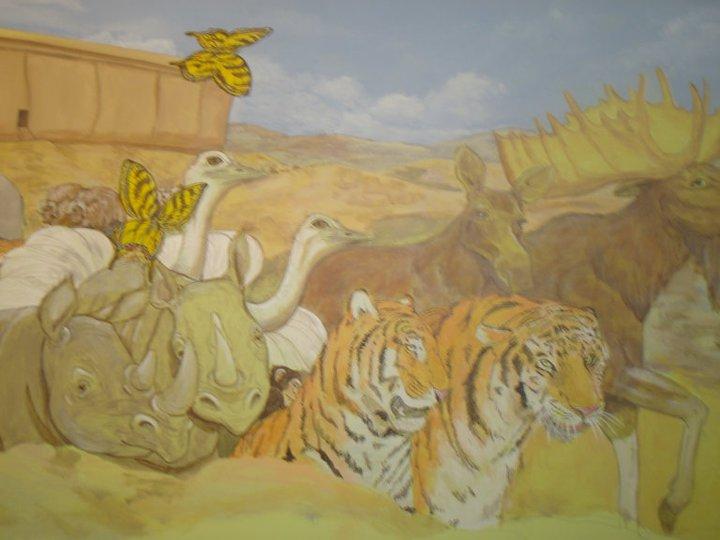 animal parade mural