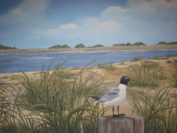 gull at the beach mural