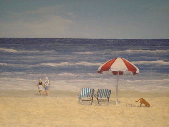 day at the beach mural