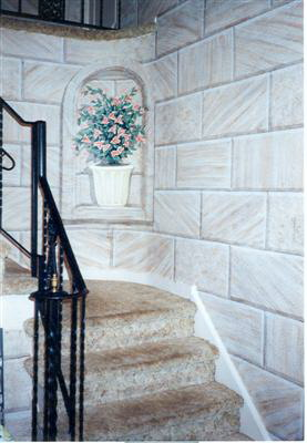 stone faux painting in foyer