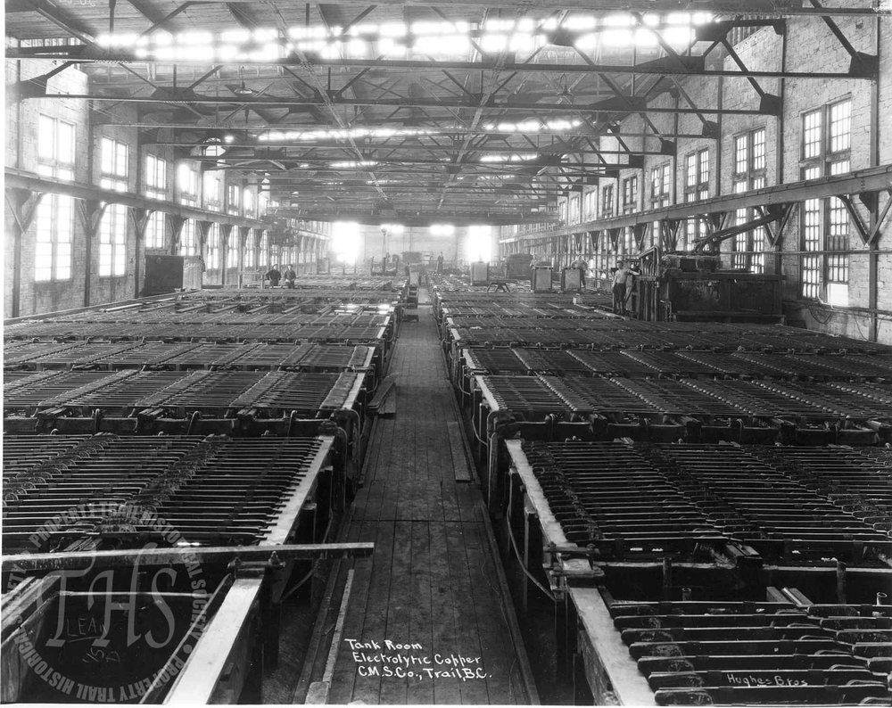 Electrolytic copper tank room, Trail Smelter (Hughes) - 1920