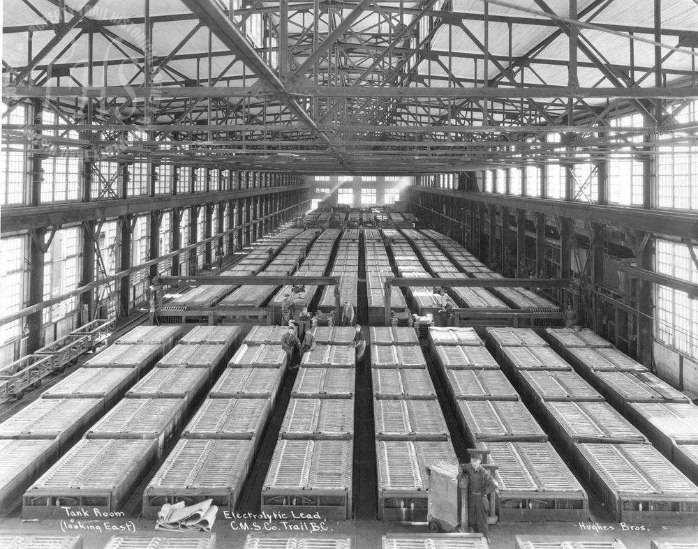 Electrolytic zinc tank room, Trail Smelter (Hughes) - 1920