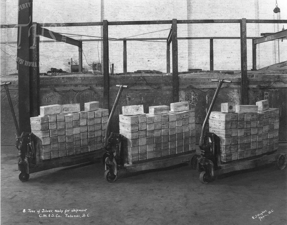 Eight tons of silver ready for shipment, Trail Smelter (Hughes) - 1920